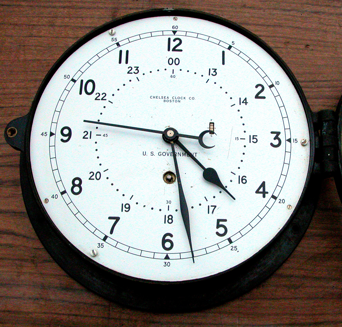 Chelsea US Navy Clock http://www.ebay.com/itm/Chelsea-Clock-Co-Boston-US-Navy-Chronometer-/360379610682